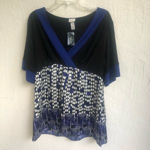 Lane Bryant Black Blue Top 14/16